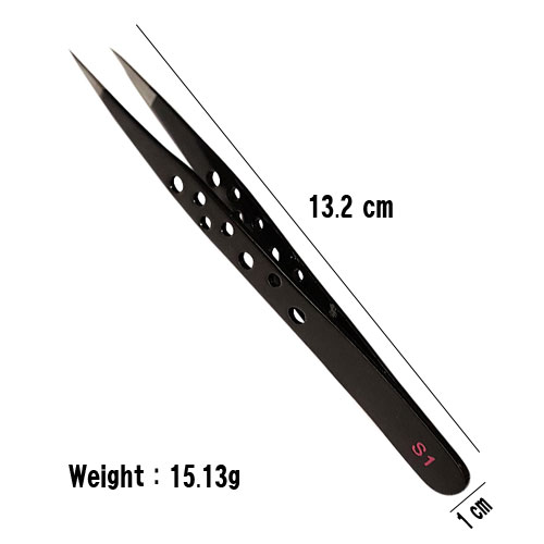 Straight Tweezers S1 is soft tension of the tweezers legs pressure.